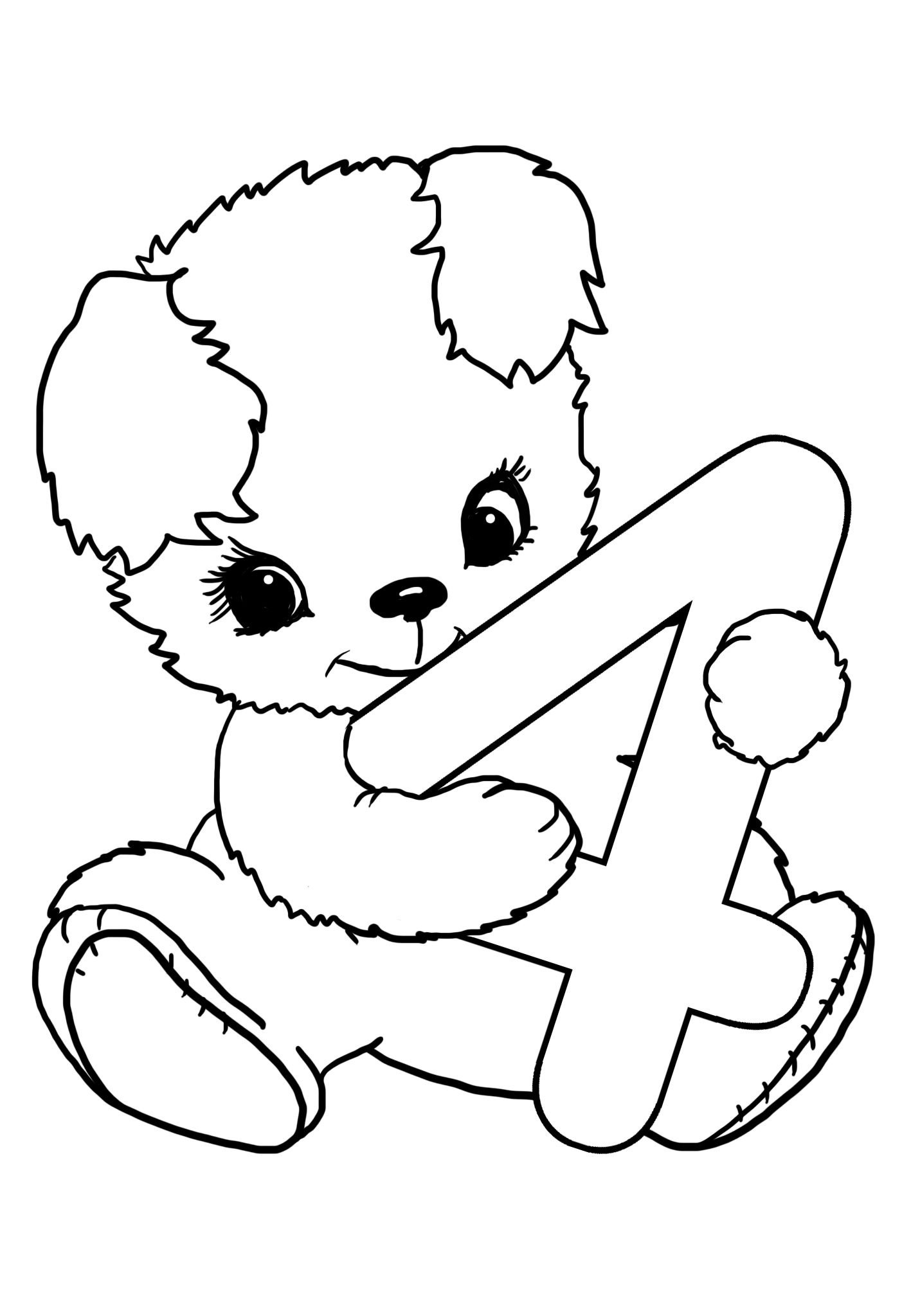 4th birthday coloring sheet with teddy bear