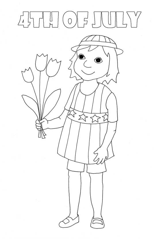 coloring pages to print girl with flowers