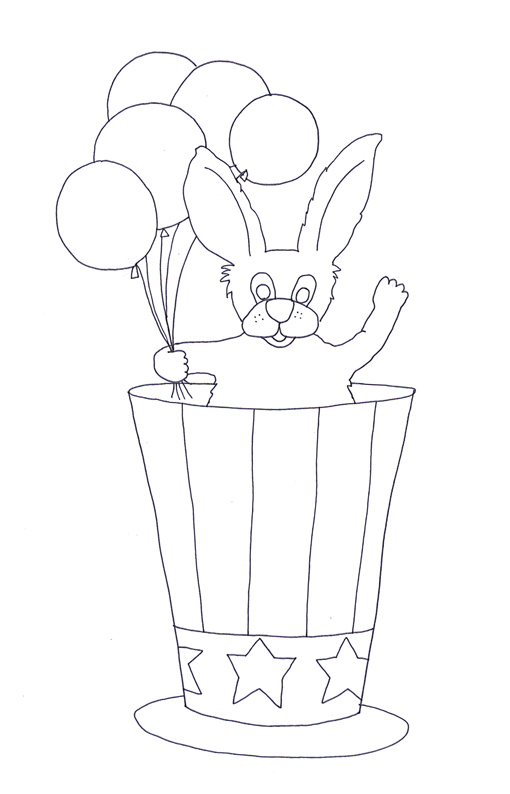 July 4th coloring pages balloons hat rabbit
