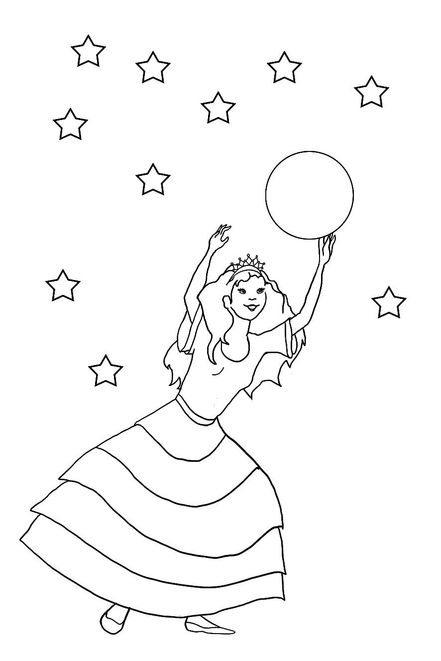 princess coloring sheet stars sun