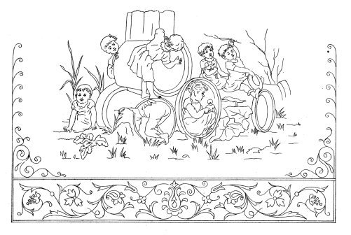 old coloring page with Victorian children playing outdoor