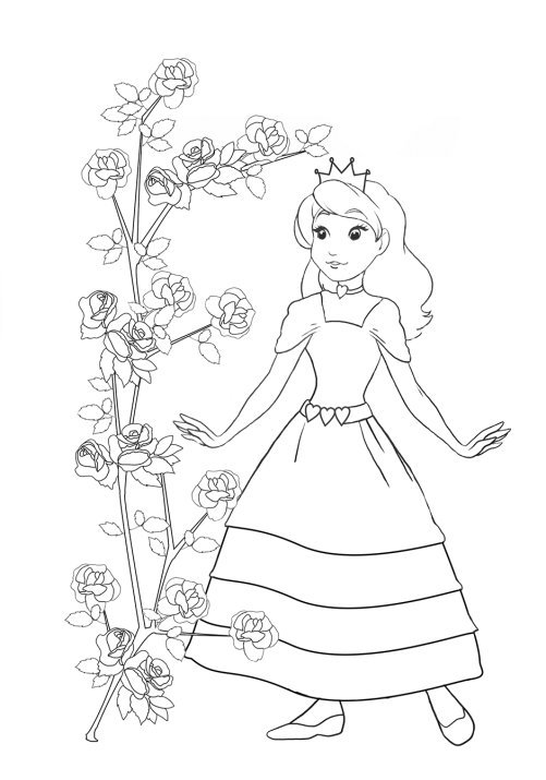 princess coloring pages with rosebush