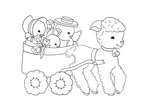 Easter wagon lamb chickens tulips