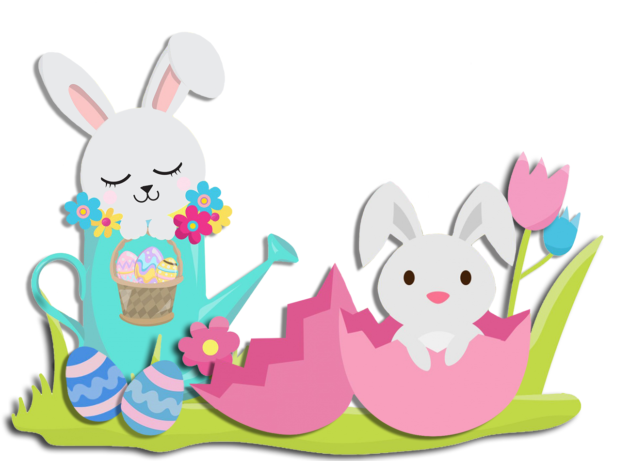 Two Easter bunnies in a garden