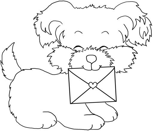 Valentine puppy with letter for coloring