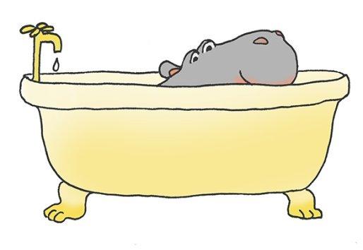 happy hippo in bathtub