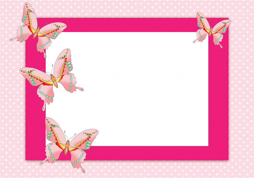 Pink frame with butterflies