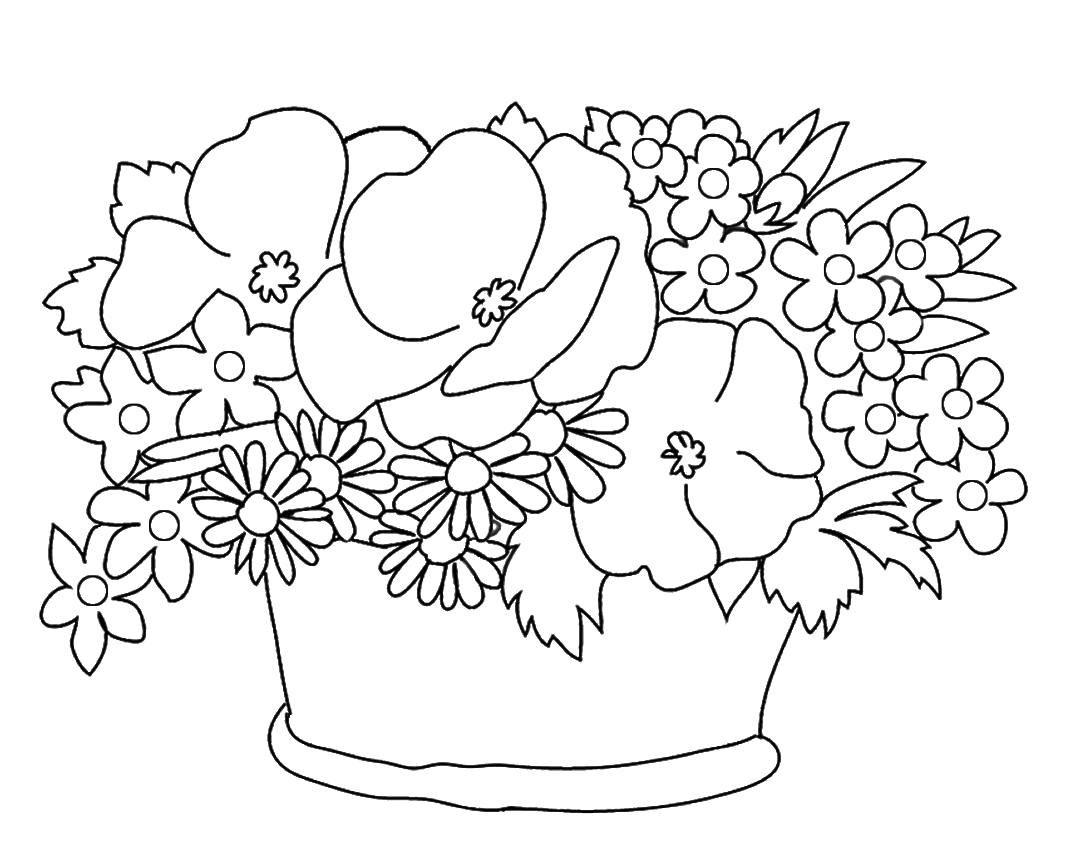 basket with different flower sketch to color