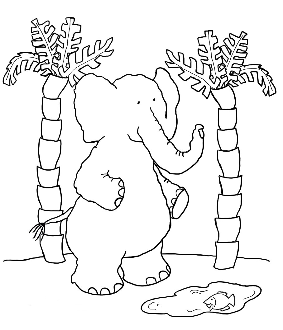 sweet elephant coloring page palms