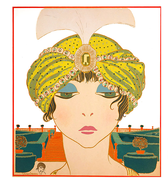 art nouveau face of woman with hat