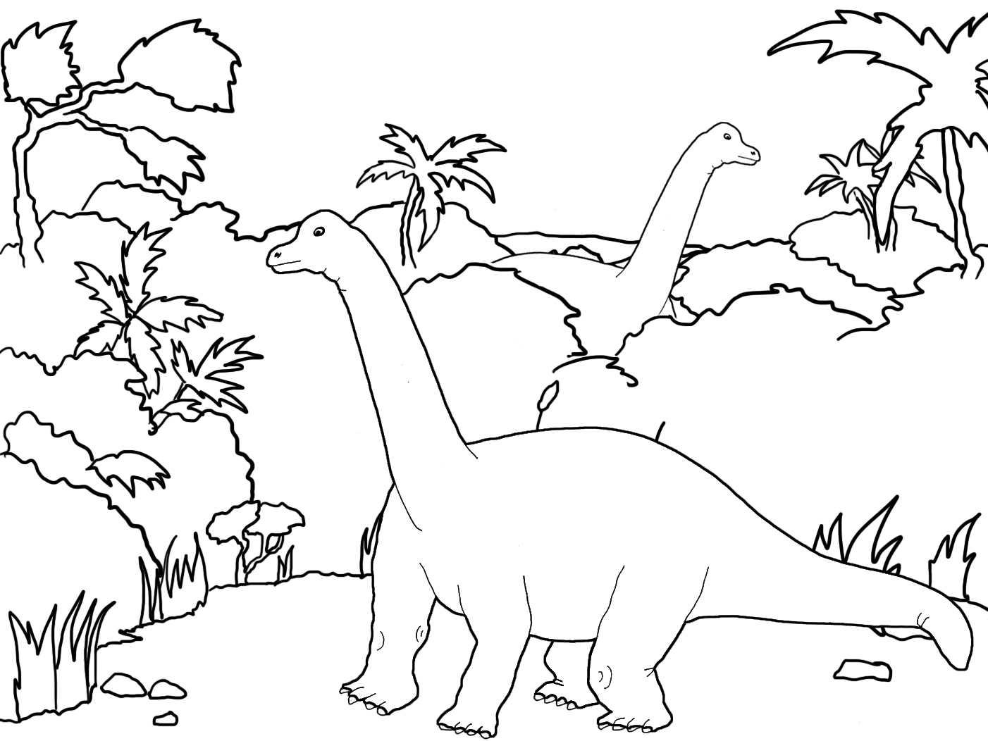 landscape with two huge dinos