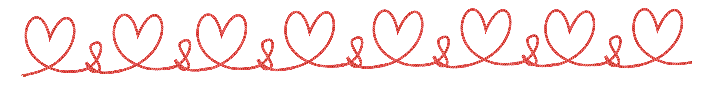 heart border made of rope