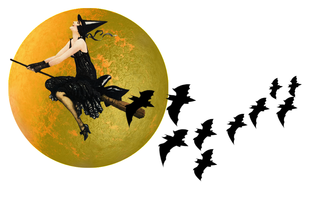 Vintage witch flying past the moon on broomstick