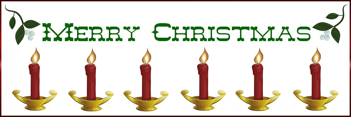 Merry Christmas border with candles
