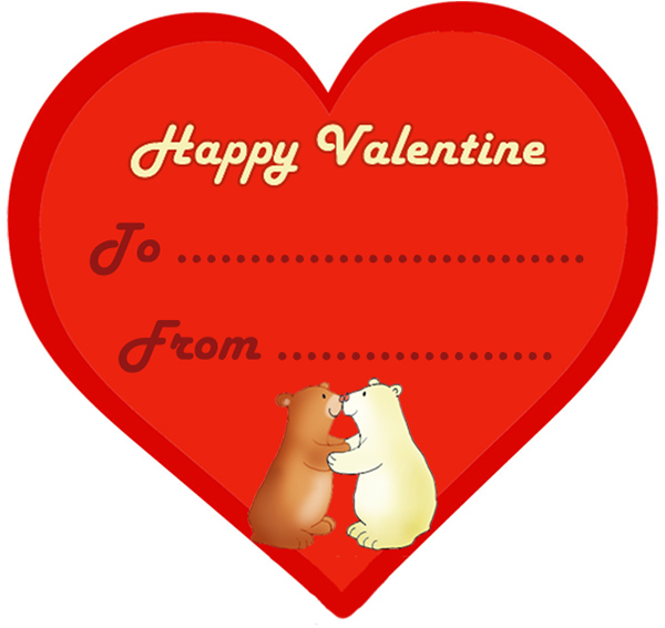 Valentine card shaped as a heart with kissing bears