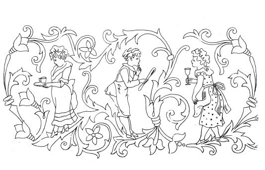 old coloring page Victorian motive