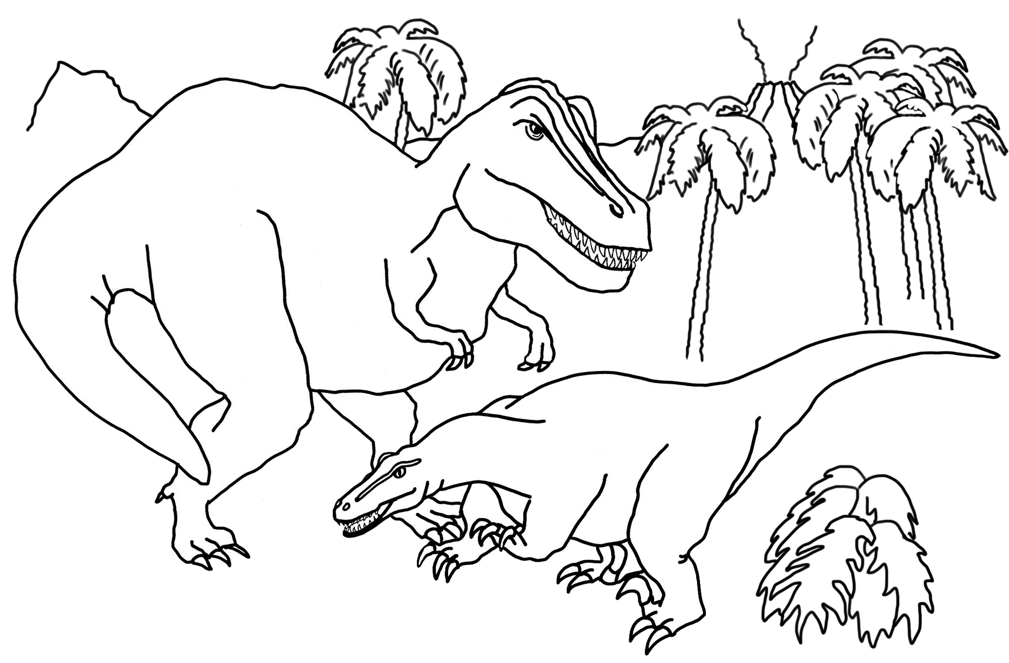 dinosaur coloring page with volcano