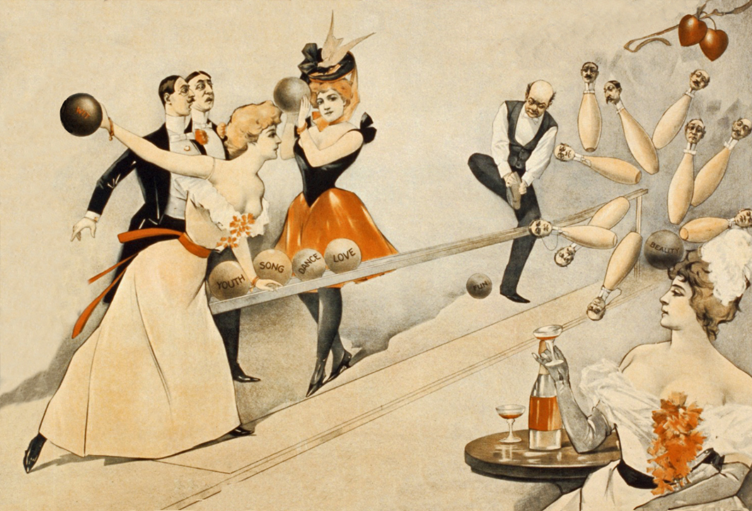 bowling men and women vintage