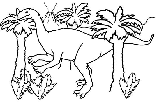coloring page with dinosaur