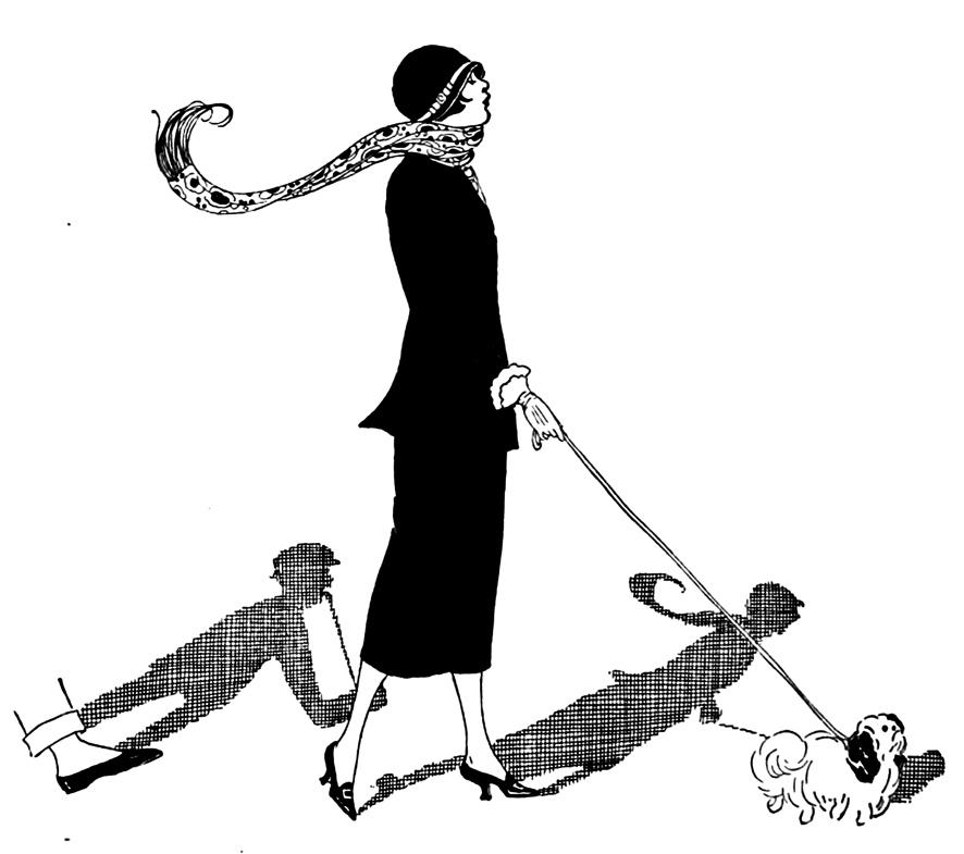 Art Nouveau woman walking her dog