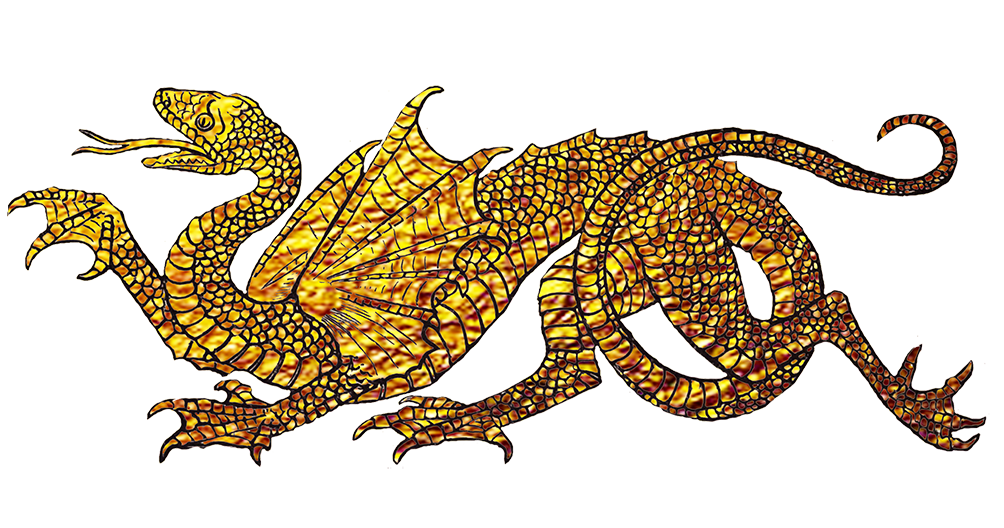 Golden dragon drawing