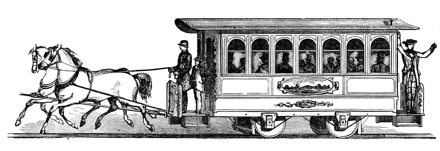 horse car with passengers