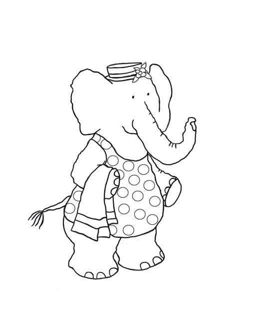 Elephant girl going for swim coloring