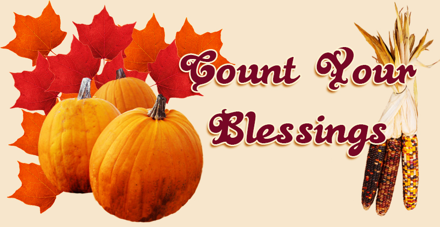 Thanksgiving greeting pumpkin corn leaves