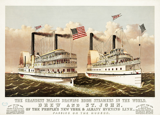Victorian steam ships Hudson river