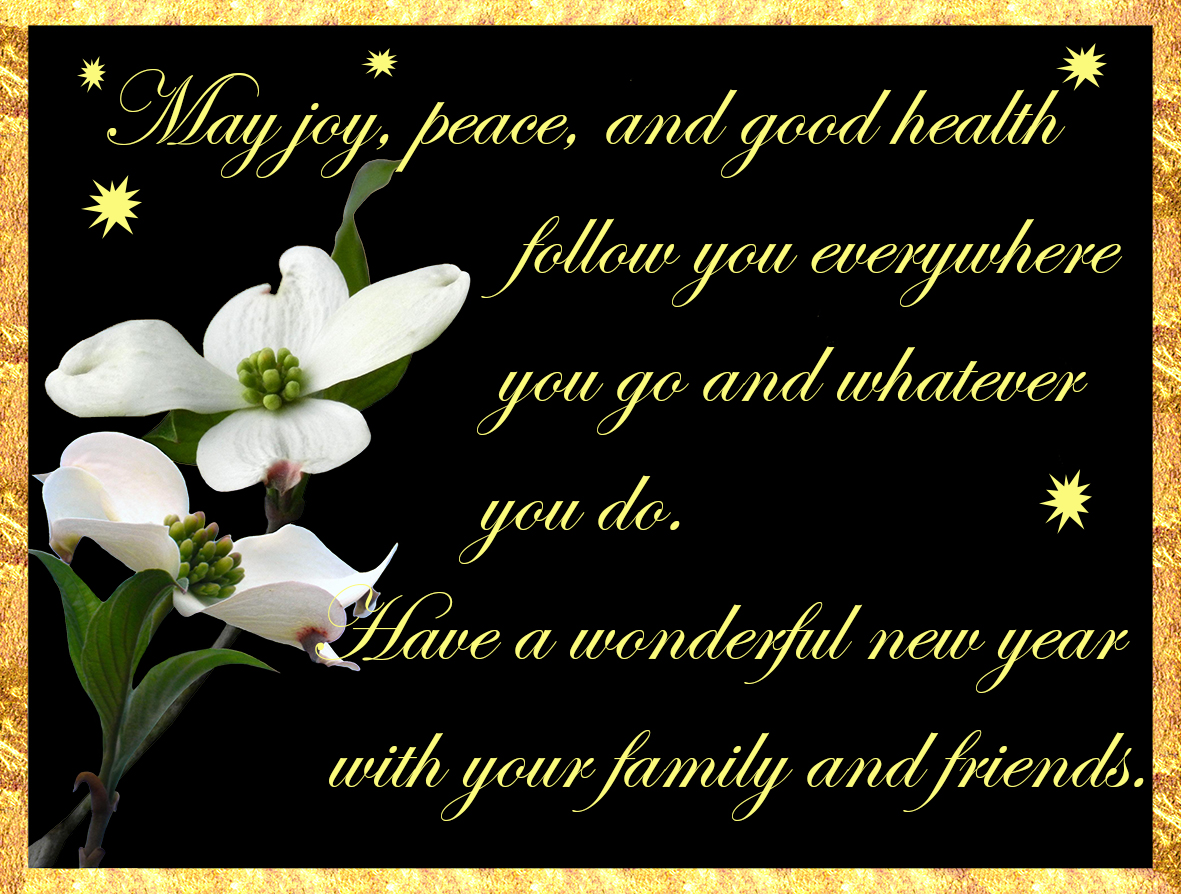 New Year greeting with flower and text