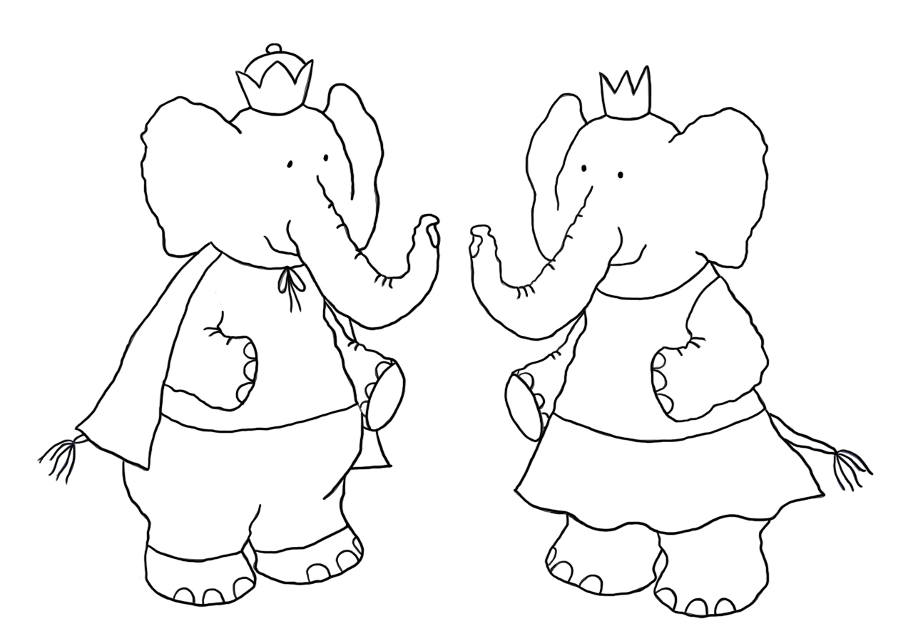 elephant prince and princess coloring page