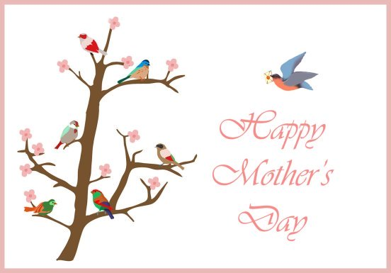 Card for Mother's Day with birds and flowers
