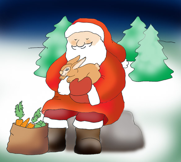 father christmas with hare in winter