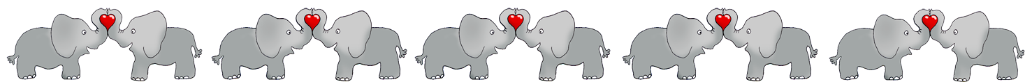 Valentine border elephants and hearts