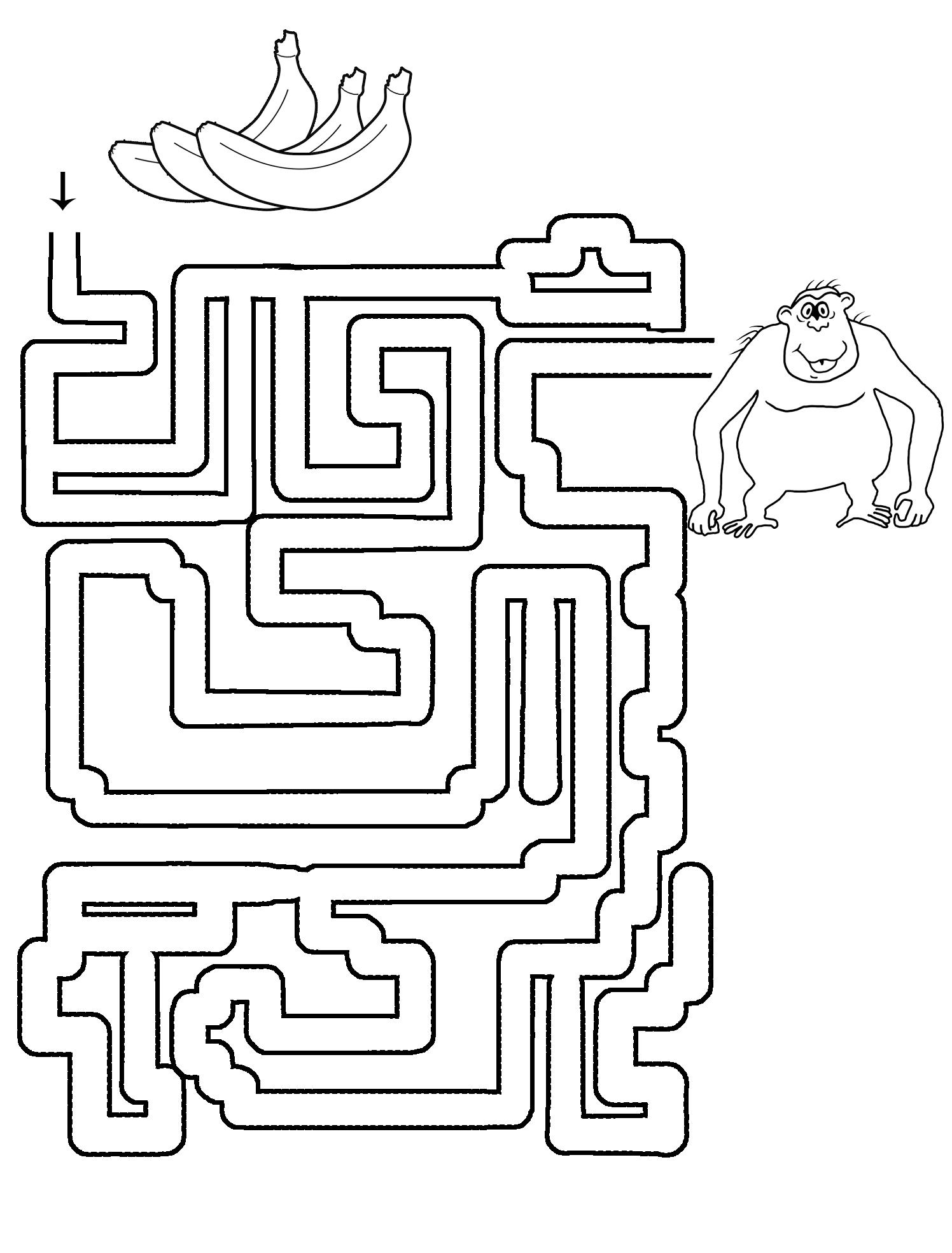 printable maze with gorilla and bananas