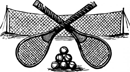 drawing of tennis rackets and net