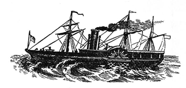 Antique drawing Ocean steamer