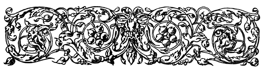 Victorian ornament with leaves and faces