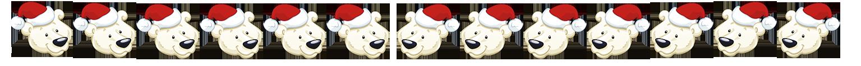 Polar bear border with Christmas hats