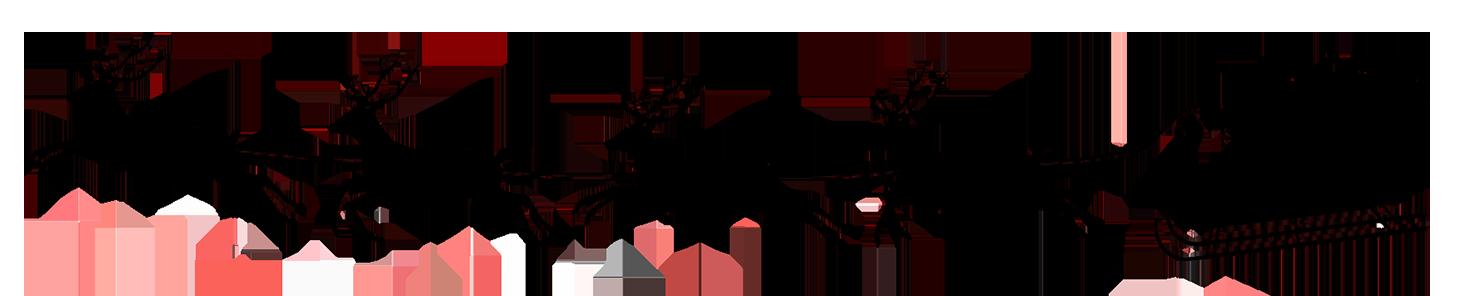 christmas silhouette Santa reindeer