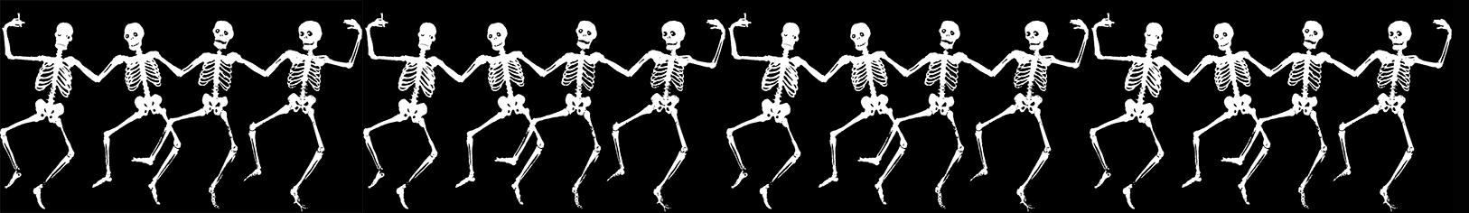Halloween border with dancing skeletons
