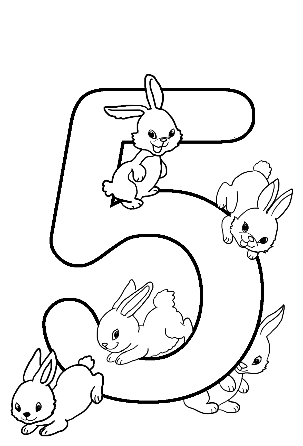 5th birthday coloring with rabbits