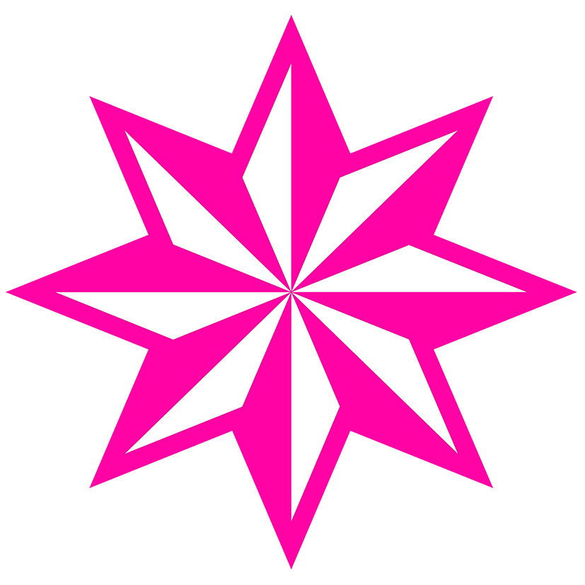 pink star clipart faceted star