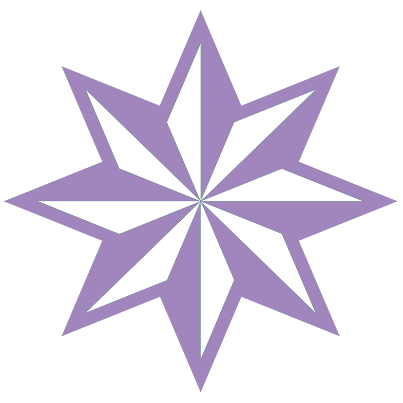 lila faceted 8-pointed star clip art