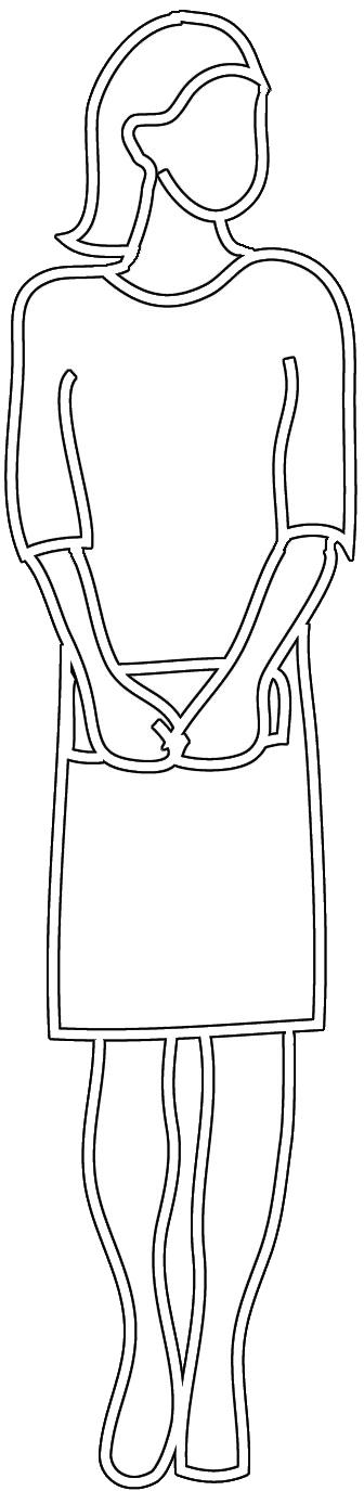 Outline of woman with handbag