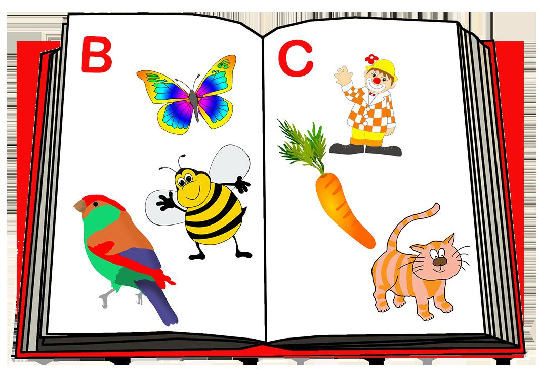 open alphabet book drawing