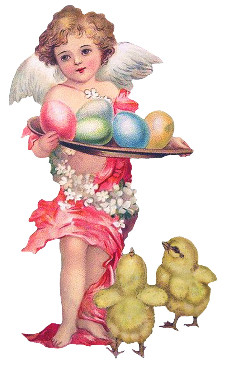 angel with Easter eggs and chicken