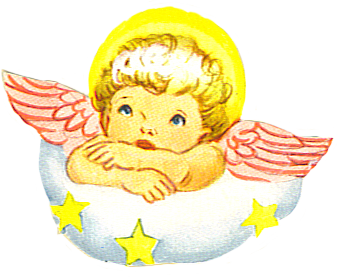 angel with wings on a cloud