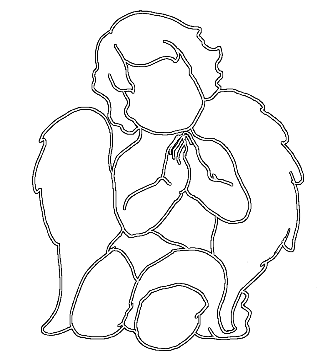angel silhouette cute praying