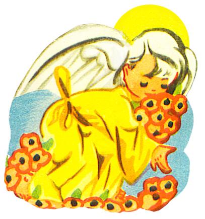 angel picking flowers
